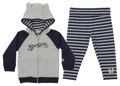 Outerstuff MLB Toddler Girls Milwaukee Brewers Great Catch Hoodie and Pant Set