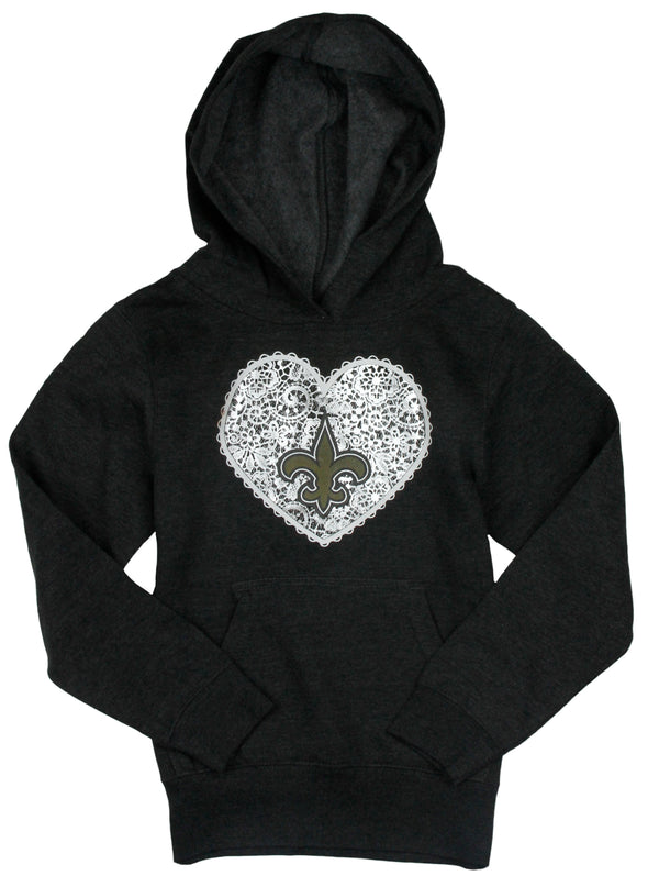 NFL Football Youth Girls New Orleans Saints Heart Sweatshirt - Grey