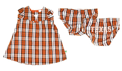 NCAA Toddlers Texas Longhorns Campus Plaid Dress Set, Burnt Orange
