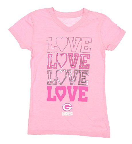 NFL Green Bay Packers Youth Girls Emphatic Triblend Tee, Pink