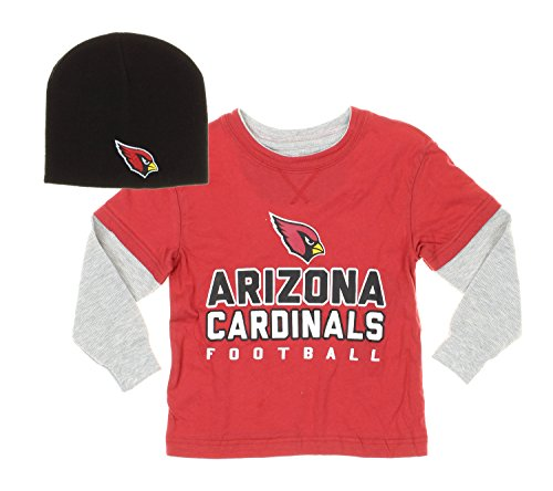 Arizona Cardinals NFL Kids Faux Layered Shirt with Knit Beanie Hat Set