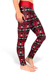 NCAA Women's Louisville Cardinals Aztec Print Leggings, Red