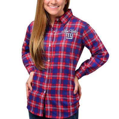 Forever Collectibles NFL Women's New York Giants Check Flannel Shirt