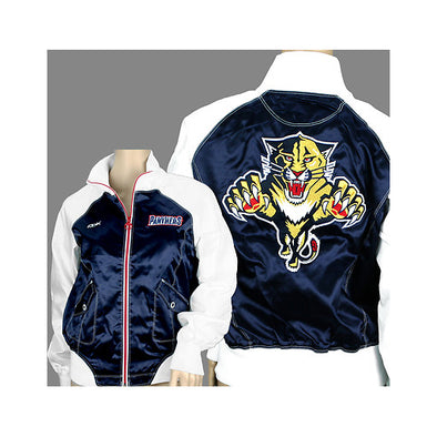 NHL Florida Panthers Womens Reebok Satin Jacket | Blue & White | Many Sizes