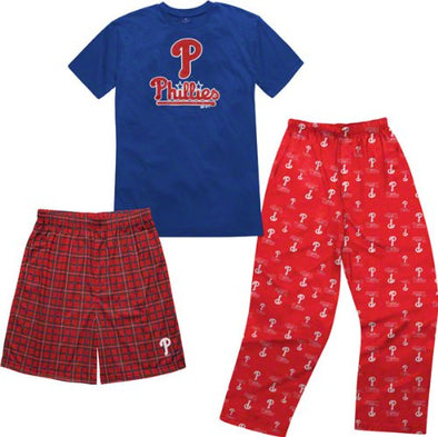 MLB Youth Philadelphia Phillies T-Shirt Boxer & Pant 3 Piece Sleep Set