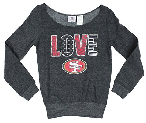 191a2662 NFL Youth Girls San Francisco 49ers Love Off The Shoulder Sweatshirt, Grey