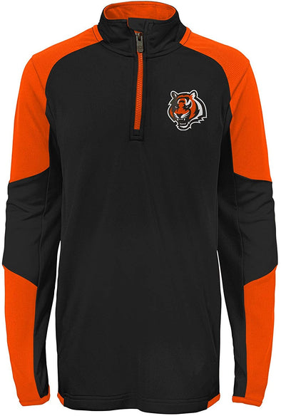 Outerstuff NFL Football Youth Boys Cincinnati Bengals 1/4 Zip Performance Top