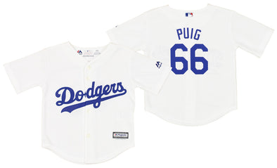 Los Angeles Dodgers Yasiel Puig #66 MLB Boys Toddler Home Replica Jersey, White