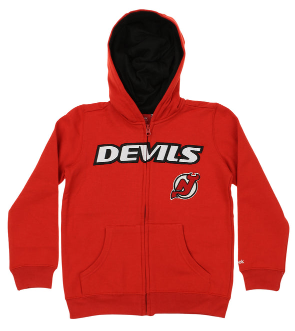 Reebok NHL Youth New Jersey Devils Stated Full Zip Hoodie, Red