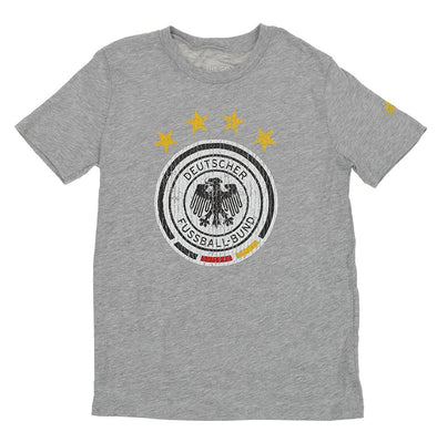 Adidas DFB Soccer Youth Distressed Graphics Short Sleeve T-Shirt, Heathered Grey