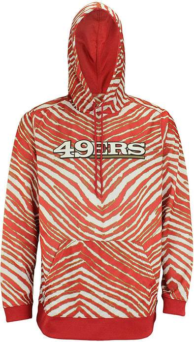 Zubaz NFL Football Men's San Francisco 49ers Zebra Print Touchdown Hoodie