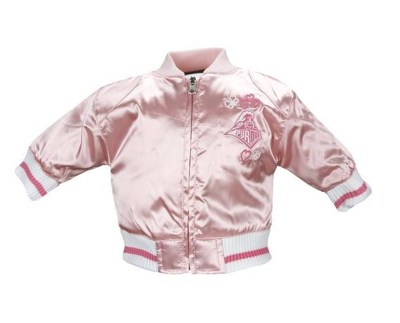 NCAA College Infants Girls Purdue University Satin Cheer Jacket - Pink