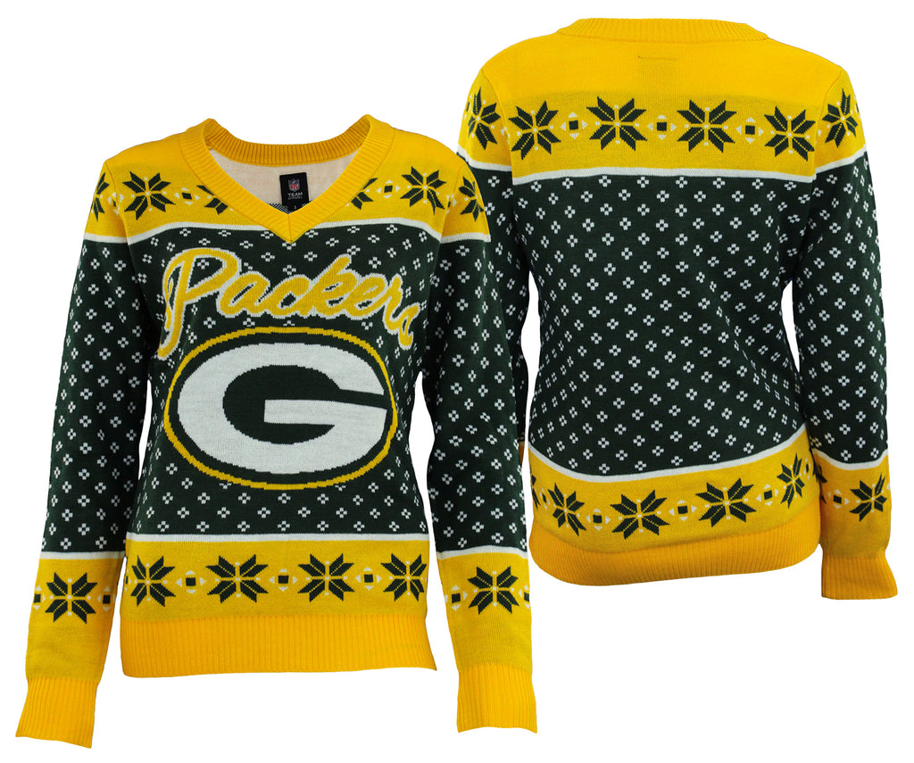 90312f62 Forever Collectibles NFL Women's Green Bay Packers Big Logo V-Neck Sweater