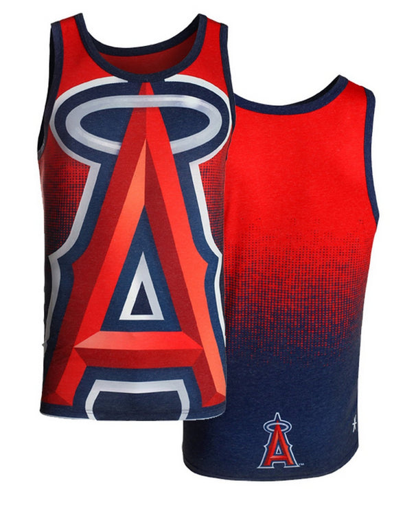 MLB Men's Los Angeles Angels Big Logo Tank Top Shirt, Navy/Red