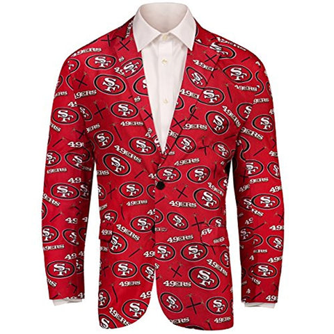 Forever Collectables NFL Men's San Francisco49ers Ugly Business Jacket, Red