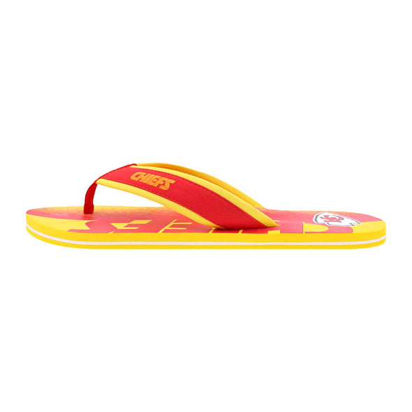 FOCO NFL Men's Kansas City Chiefs Contour Fade Wordmark Thong Sandals