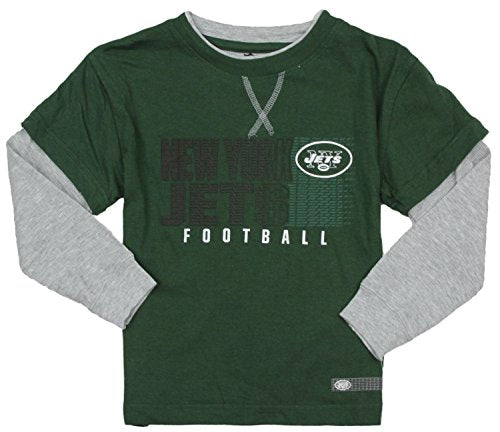 NFL Football New York Jets Kids Boys Long Sleeve Faux Layer Shirt - Green