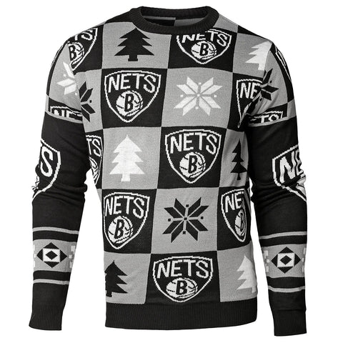 Forever Collectibles NBA Men's Brooklyn Nets 2016 Patches Ugly Crew Neck Sweater