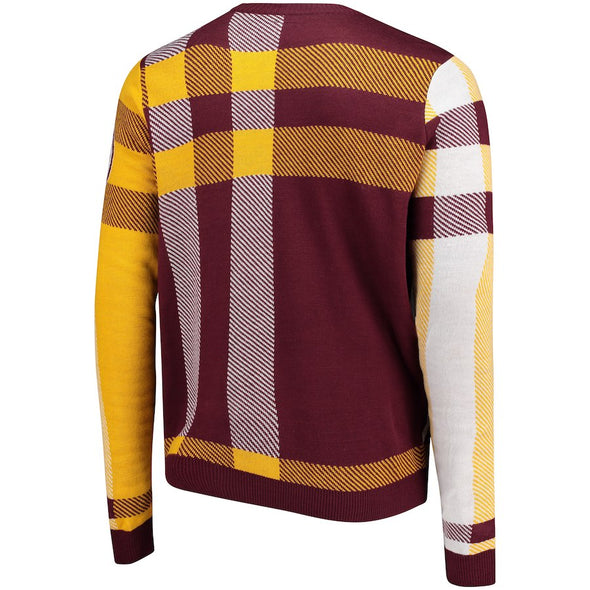 Forever Collectibles NFL Men's Washington Redskins Plaid Crew Neck Sweater