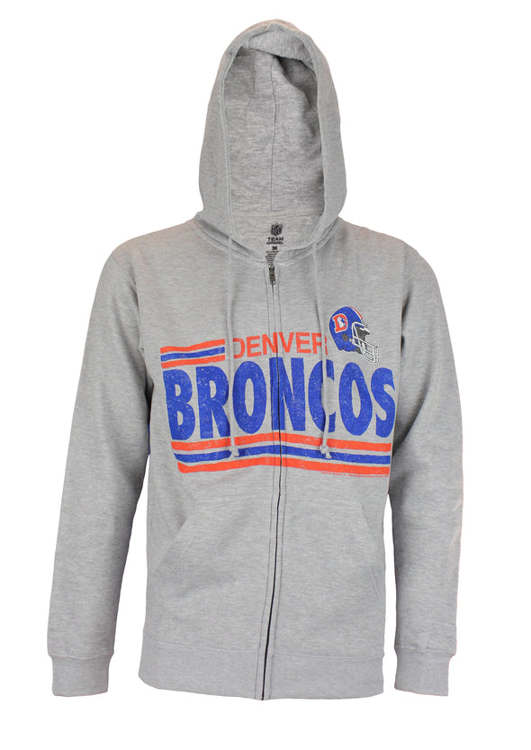 Denver Broncos NFL Football Men's Across the Middle Fleece Hoodie, Grey