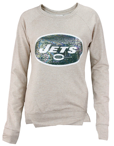 NFL Football Juniors Women's New York Jets Crew Fleece Sweatshirt, Beige