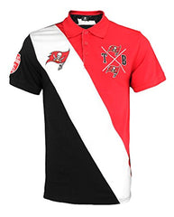 08fb9009 KLEW NFL Football Men's Tampa Bay Buccaneers Rugby Diagonal Stripe Polo  Shirt
