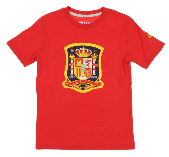 Adidas ESP Spain Futbol Youth Crest On The Go Short Sleeve T-Shirt, Red