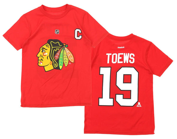 Reebok NHL Youth Chicago Blackhawks Jonathan Toews #19 Captain Tee, Red