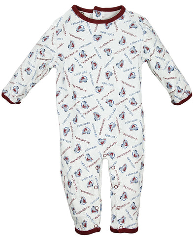 Colorado Avalanche NHL Baby Boys Infant All-Over Printed Coverall, White (3-6 Months)