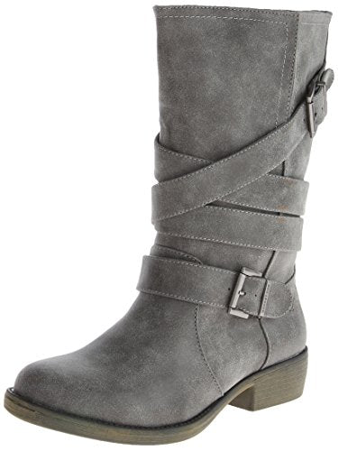 Rocket Dog Women's Truly McLaren PU Motorcycle Boots, Charcoal Gray