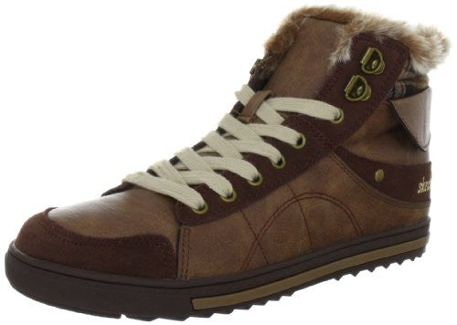 Skechers Women's Kicks Coolest Fashion High Top Faux Fur Sneaker Shoes, 3 Colors