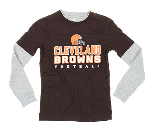 Cleveland Browns NFL Youth Boys Faux Layered Shirt with Knit Beanie Hat Set