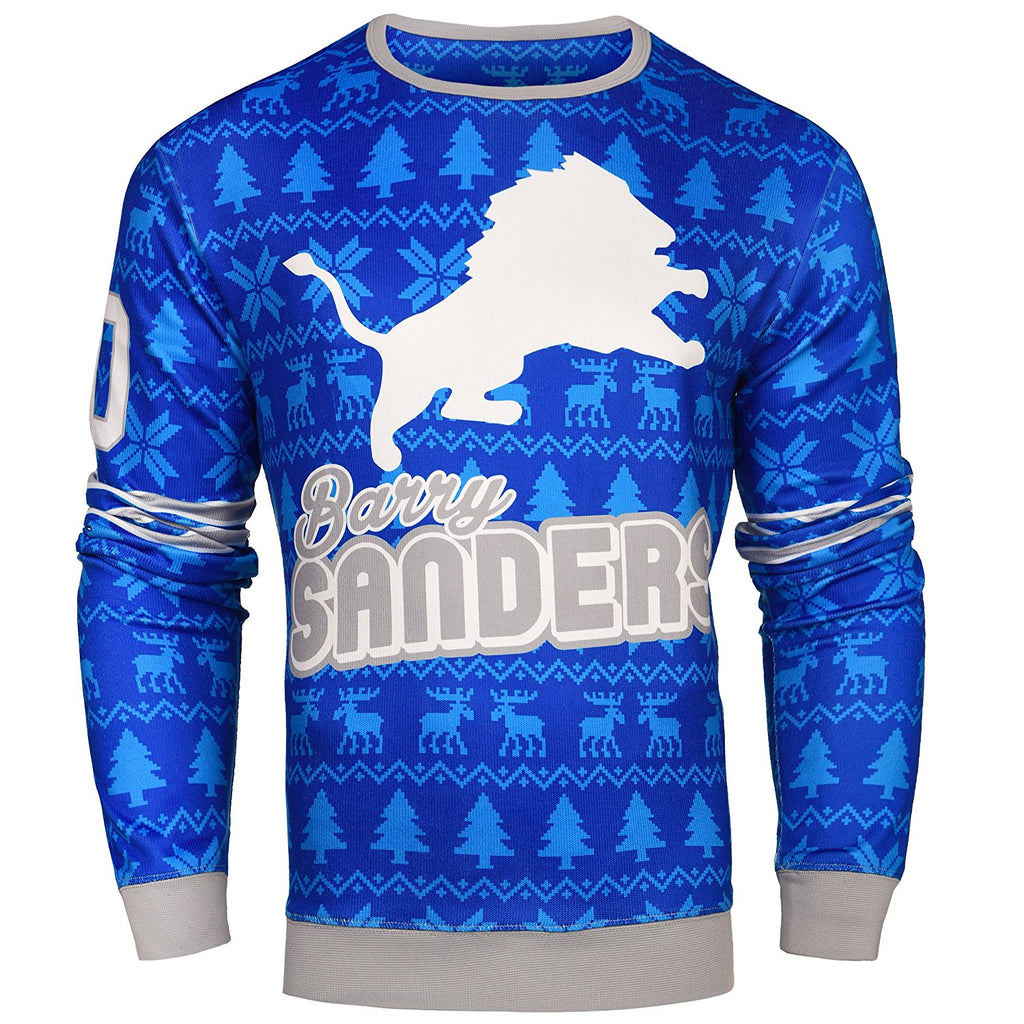 0635705e11f NFL Men s Detroit Lions Barry Sanders  20 Retired Player Ugly Sweater