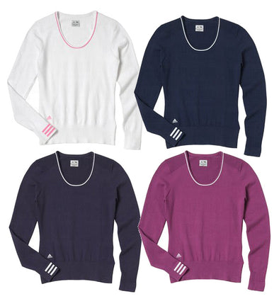 Adidas Taylormade Women's Performance 3 Stripe Scoop Neck Sweater, Color Options