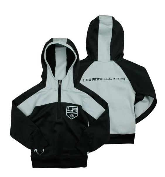 Reebok NHL Youth Girl's Los Angeles Kings 1/4 Zip Active Pullover Hoodie, Black