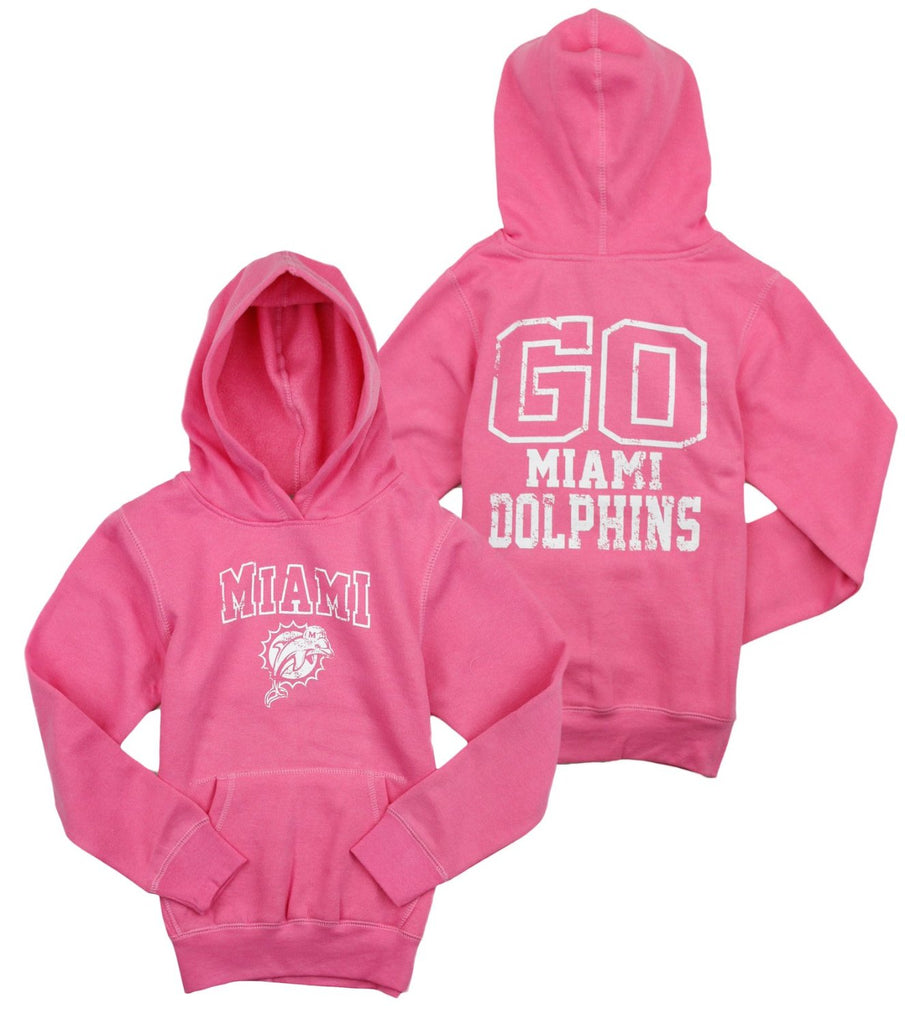 73434192 NFL Football Youth Girls Miami Dolphins Shawl Pullover Sweatshirt Hoodie,  Pink