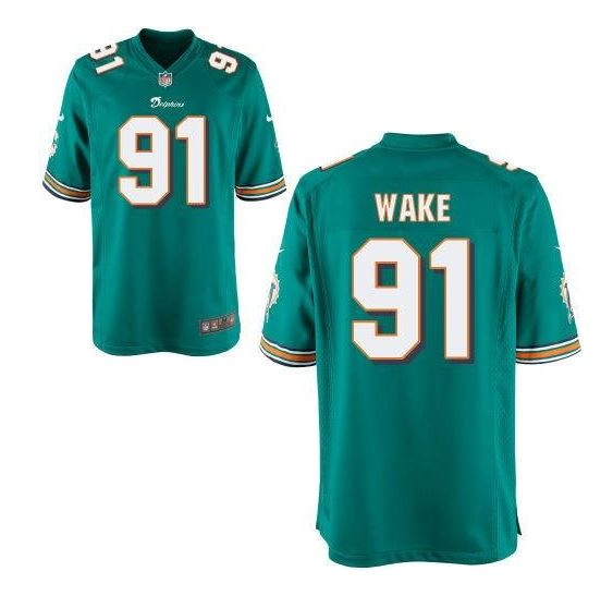 detailed look 26162 c2b1a Miami Dolphins Cameron Wake #91 NFL Kids Game Jersey, Aqua Green