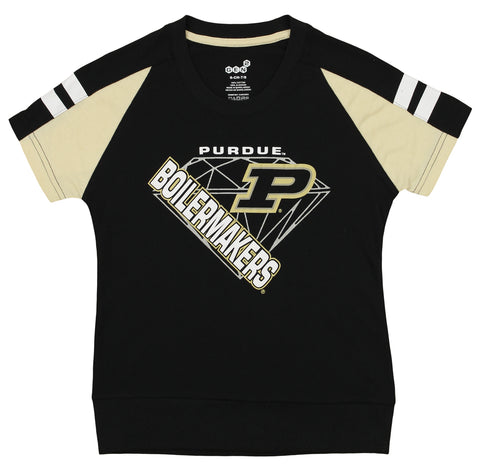 Gen2 NCAA Youth Girl's Purdue Boilermakers Bejeweled Banded Bottom Tee
