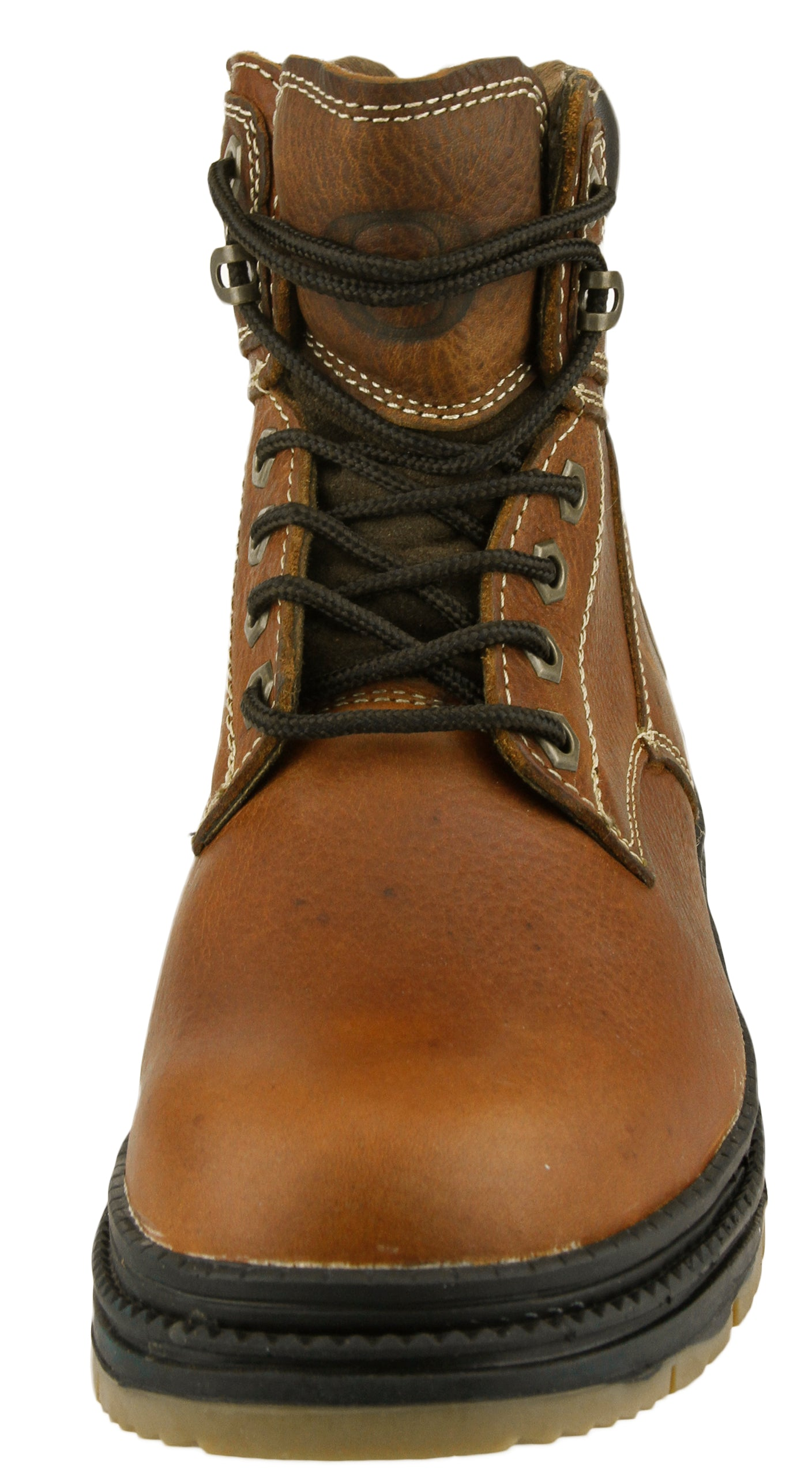 Oregon Ducks NCAA Mens Rounded Steel Toe Lace up Leather Work Boots Brown