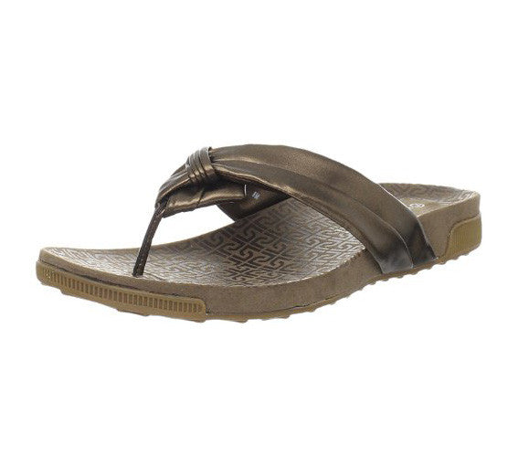 Rockport Women's Jada Tubular Thong Sandal Flip Flops Sandals, Bronze and Black