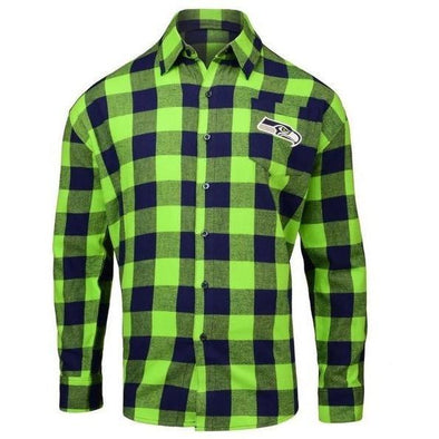 Forever Collectibles NFL Men's Seattle Seahawks Check Long Sleeve Flannel Shirt