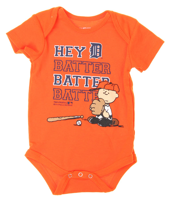 MLB Infants Detroit Tigers Peanuts Love Baseball Creeper, Orange