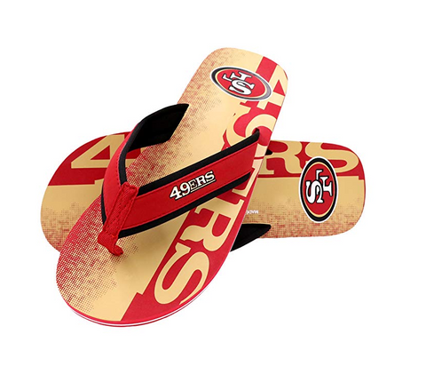 FOCO NFL Men's San Francisco 49ers Contour Fade Wordmark Thong Sandals