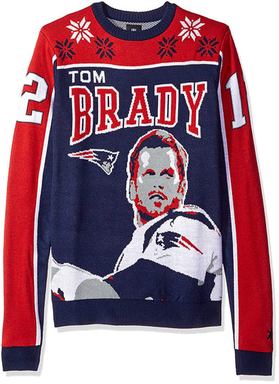 KLEW NFL Men's New England Patriots Tom Brady #12 Ugly Sweater