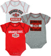NCAA Infants Arkansas State Red Wolves 3 Pack Bodysuit Creeper Set