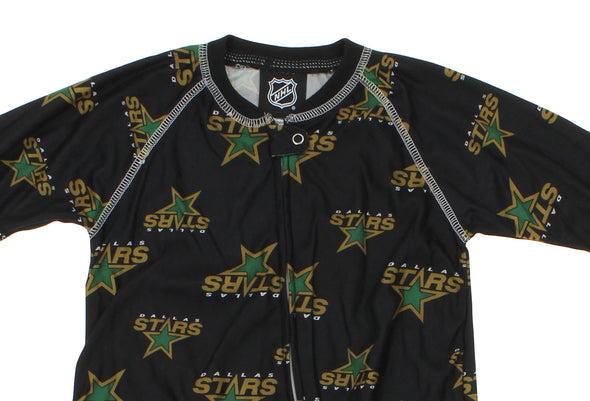 NHL Toddlers Dallas Stars Full Zip Raglan Logo Print Coverall, Black
