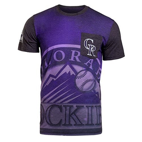 KLEW MLB Men's Colorado Rockies Big Graphics Pocket Logo Tee T-shirt, Red