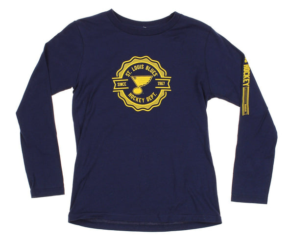 Reebok NHL St. Louis Blues Youth Iconic Long Sleeve Tee, Navy