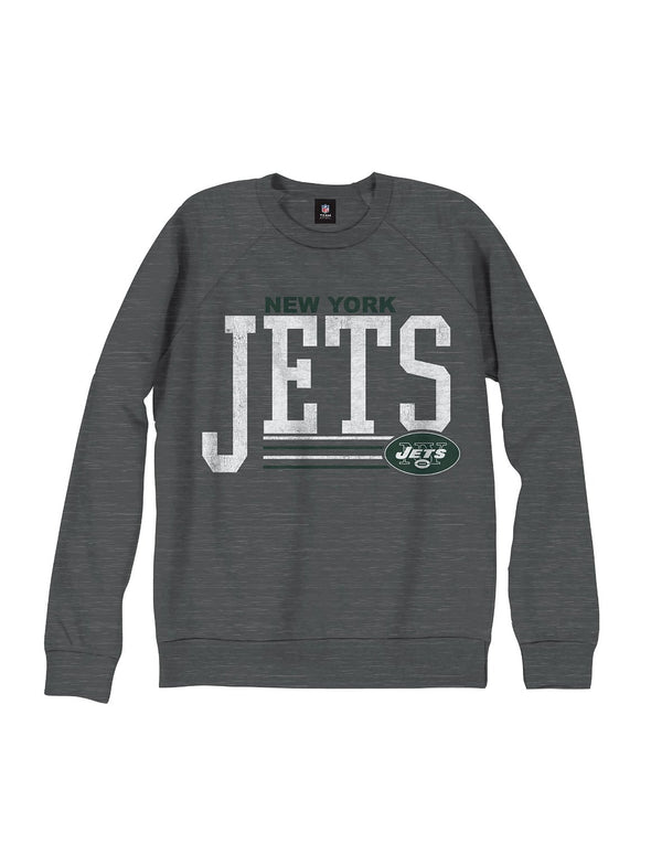 New York Jets NFL Men's Fundamentals French Terry Crew Sweatshirt, Gray