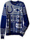 Klew NFL Men's Indianapolis Colts Patches Ugly Sweater, Blue